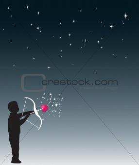 Boy shoots heart into the stars