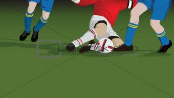 Football, soccer tackle close up