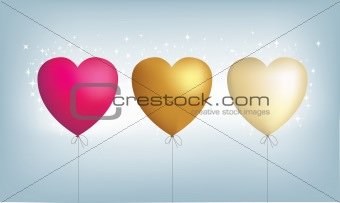 3 metallic heart balloons