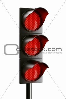 All red traffic light