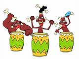 African savage knocking the drums
