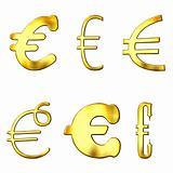 Eccentric Golden Euro Symbols