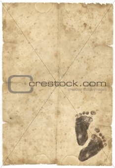 old paper with baby foot-print