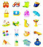 set of kids&#39; toys vector icons