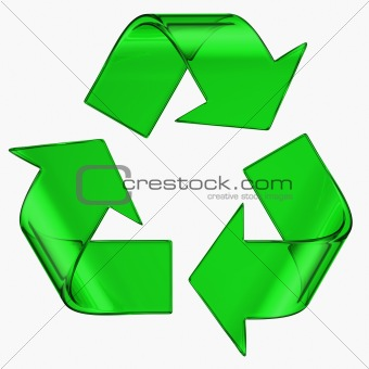 recycle symbol in green glass