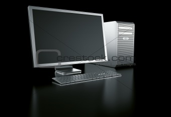 stylish computer on black background