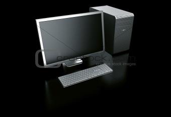 stylish computer on black background