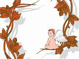 vintage illustration of a background with floral and angel