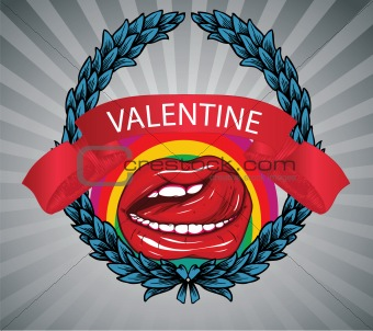valentine illustration with floral, mouth and speaker