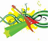 music illustration with floral, grunge and s