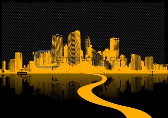 City reflection in the water. Vector