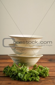 Three soup bowls