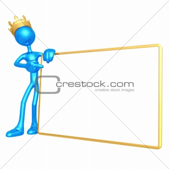 King With Blank Sign