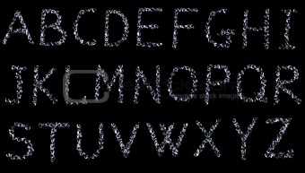 alphabet, letters made with diamonds