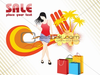an attractive young lady in summer shopping, vector
