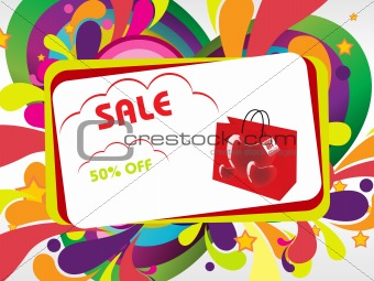 announcement 50% off and many swirl, vector