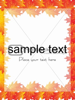 autumn leaves, vector frame