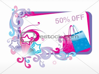 avail upto 50% discount on fancy bags, vector