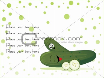 green cucumber with its slice, vector