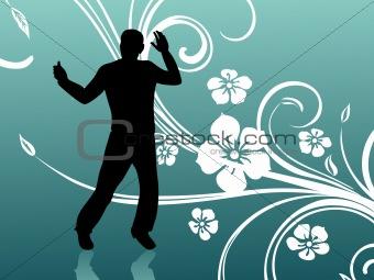 green floral background with dancer, illustration