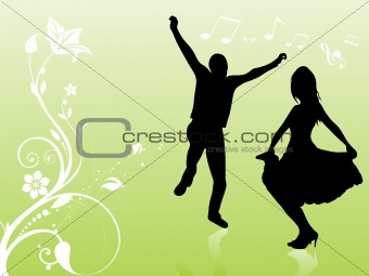 green floral background with dancing  couple, illustration