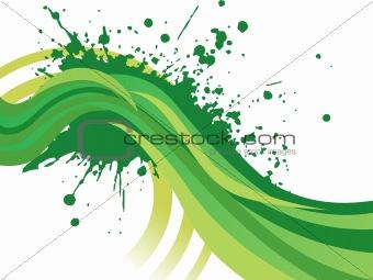 green grunge waves background