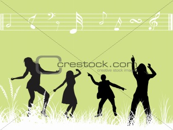 green musical background with dancing  couples, wallpaper
