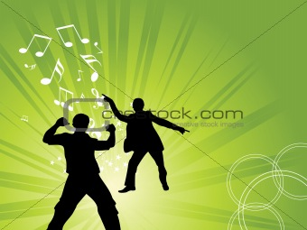 green musical background with two dancer, illustration