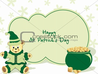 green pot full of gold coins and teddy bear