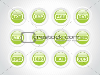 green rounded icons for computer generated file