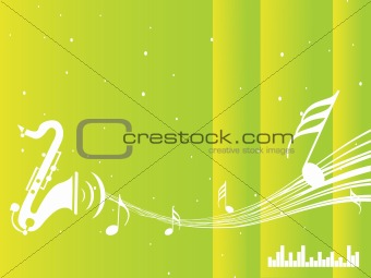 green texture of saxophone and music note