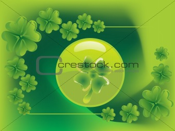 green vector with four leafs clover