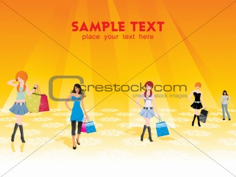 group of five shopping girls on the background, vector
