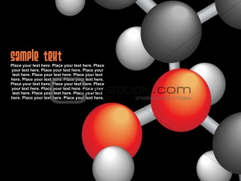 group of molecule isolated on black, vector
