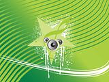 gruge stars with speaker on green background, wallpaper