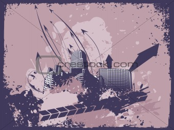 grunge arrows city background of, vector banner