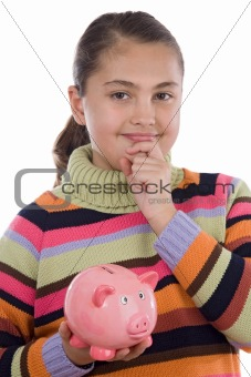 Adorable girl with moneybox thinking