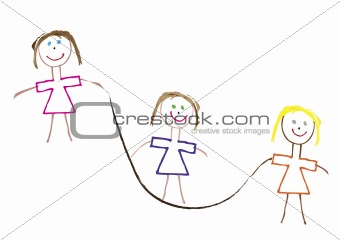 three stick figure girls skipping to keep fit