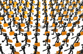 3d crowd of people holding briefcases