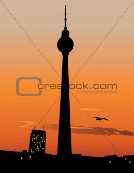 Berlin TV tower agaist sunset sky