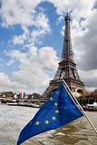 European Union flag and Eiffel tower
