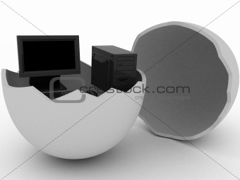 Black computer in egg