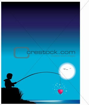 Boy fishing for heart