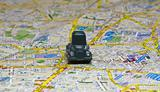 Small car on a map