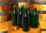 Bottles of Wine on Barrels