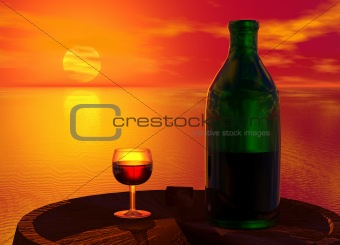 Green Bottle and Glass of Wine