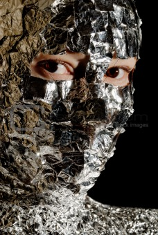 Portrait of the woman with a foil