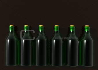 Six Green Glass Wine Bottles