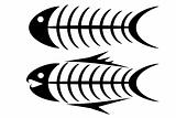 Set of two tribal fish bone tattoos