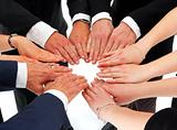 business hands in a circle (agreement)